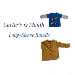 Carter's 12M EUC 2 Piece Long Sleeve Shirt Bundle